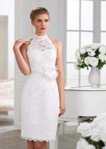 Белое гипюровое платье короткое