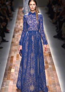 Синее гипюровое платье-рубашка