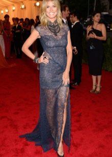 Синее гипюровое платье полупрозрачное