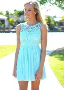 Платье с верхом из гипюра бирюзовое