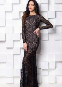 гипюровое платье в пол с рукавами