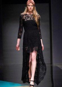 Выпускное гипюровое платье короткое спереди длинное сзади