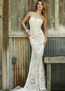 Гипюровое платье русалка белое