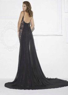 Гипюровое платье черное с открытой спиной
