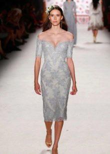 Платье миди из гипюра