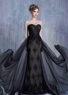 Вечернее платье из гипюра черное