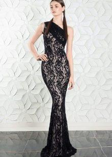 Гипюровое платье с асимметричным вырезом