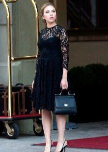 Черное платье а-силуэта офисное
