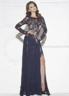 Платье с разрезом гипюровое