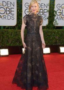 Кружевное длинное черно-серое платье для женщин цветотипа Лето