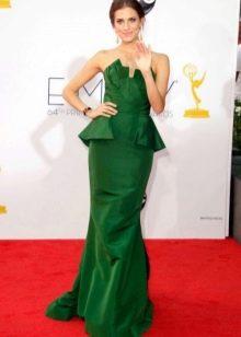Длинное зеленое платье-бюстье для женщин цветотипа Осень