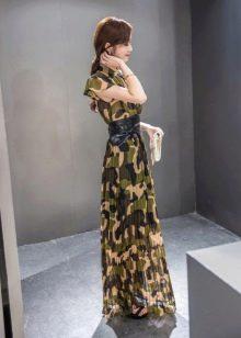 Длинное камуфляжное платье