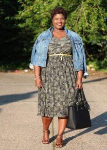 Камуфляжное платье с курточкой деним