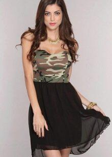 Камуфляжное платье беби долл с черной юбкой из шифона