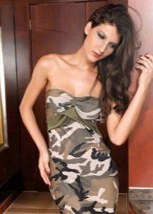 Камуфляжное платье с декольте