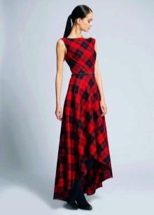 Красное платье в диагональную клетку