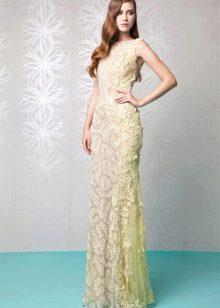 Лимонное кружевное платье