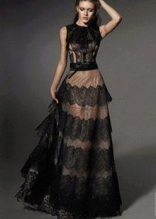 Кружевное платье а-силуэта многослойное