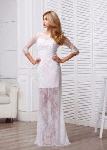Прямое кружевное свадебное платье