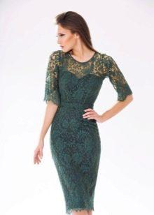 Офисное кружевное платье