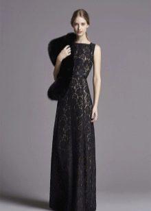Кружевное платье с мехом