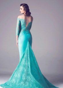 Кружевное платье со шлейфом бирюзовое