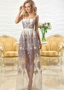 Вечернее платье кружевное с прозрачной юбкой