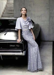 Платье с кружевной юбкой лиловое