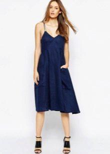 Льняное платье - сарафан