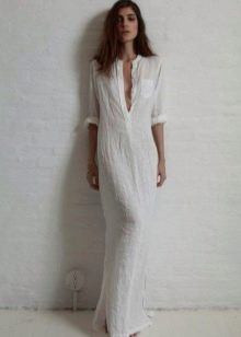 Льняное длинное платье-рубашка