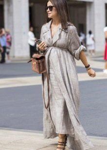 Длинное льняное серое платье