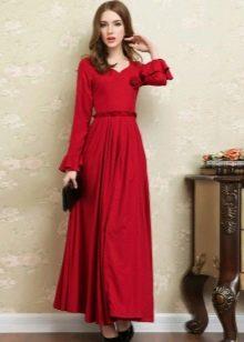 Красное длинное льняное платье