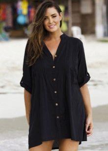 Черное платье-рубашка для полных женщин