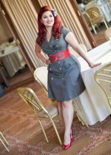 Платье-рубашка серого цвета для полных женщин