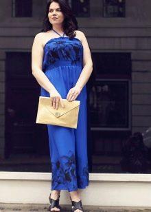 Длинное синее платье - сарафан для полных женщин