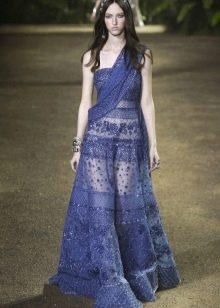 Elie Saab весна-лето 2016 кружевное синее платье