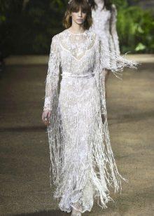 Elie Saab весна-лето 2016  закрытое платье с бахрамой