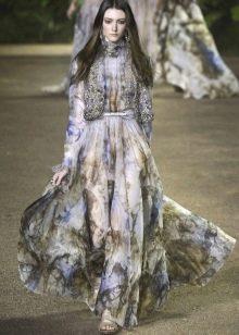 Цветное платье с жилетом
