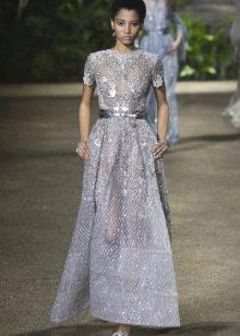 Elie Saab весна-лето 2016 кружевное платье с поясом