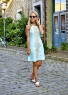 Бирюзовое платье А-силуэта