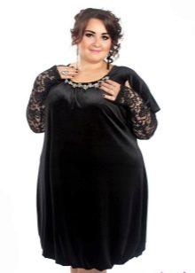 Бархатное платье-баллон для полных