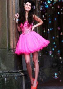 Розовое платье бэби долл с многослоной юбкой