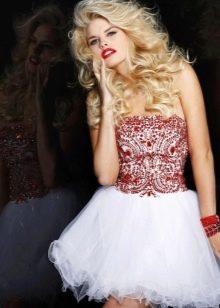 Платье бэби долл из органзы отделанное  стразами