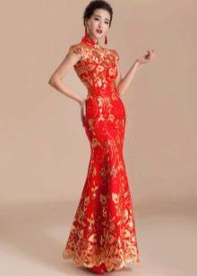 Длинное красное платье ципао
