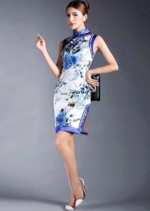 Платье ципао бело-синее