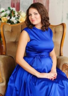 Синее платье для фотосессии беременной
