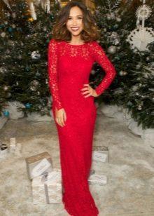 Длинное красное кружевное платье-футляр