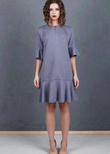 Платье с воланами из неопрена