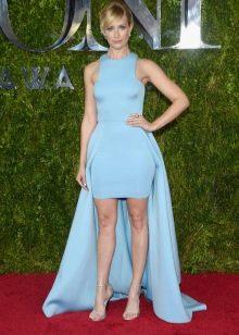 Платье футляр голубое из неопрена
