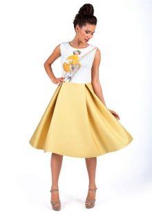 Желто-белое платье из неопрена